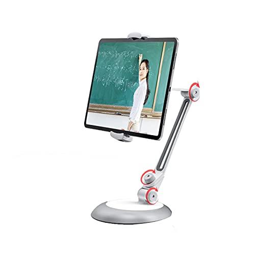 Soporte para Tableta, Puerta de Aluminio de Brazo Largo para iPad, iPhone,Samsung, Kindle 4,7-13', Giratorio de 360°, para Cocina/Oficina/Mesa,Blanco