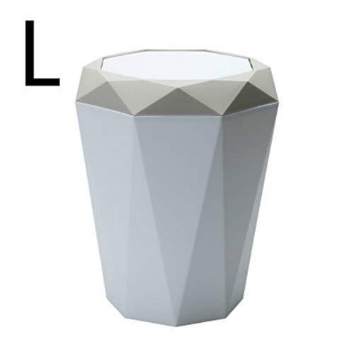 Yuxahiugljt Nordic Solapa Tipo Bote de Basura Creativo Diamante Tipo Escritorio Cesta de Papel plástico de Cocina Oficina de la Sala de Almacenamiento de Basura Cubo (Color : Apricot 9L)