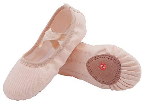 Nzcm Flache Ballett Schläppchen Damen Canvas Tanzschuhe Kinder Ballettschuhe Weich Verstellbar Ballerinas Gymnastikschuhe, 40 EU, Beige