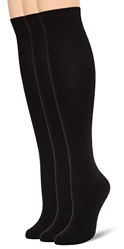 HUE womens Flat Knit Knee 3 Pack Casual Socks, New Black, One Size US
