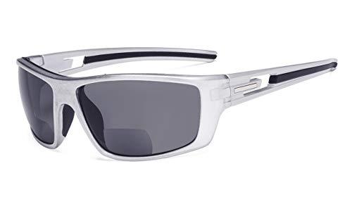 Eyekepper Bifocales Lectores De Sol Gafas De Sol De Lectura Para Deportes TR90 (Perlado Plata Marco - Gris Lente, 3.50)