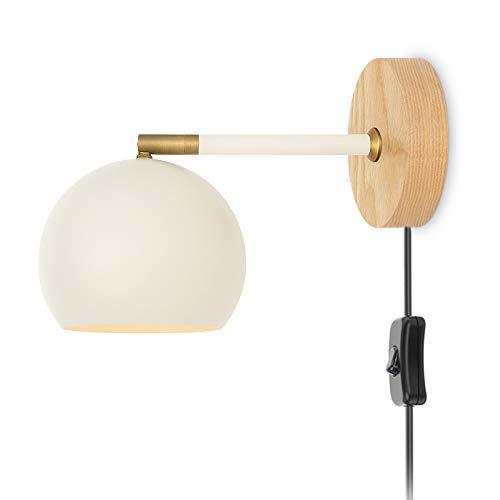 Lámpara de pared rústica para interiores, lámpara de noche de metal para dormitorio con interruptor, lámpara de pared, luz de lectura de enchufe ajustable con cable de 1,5 m, base de madera, para sala