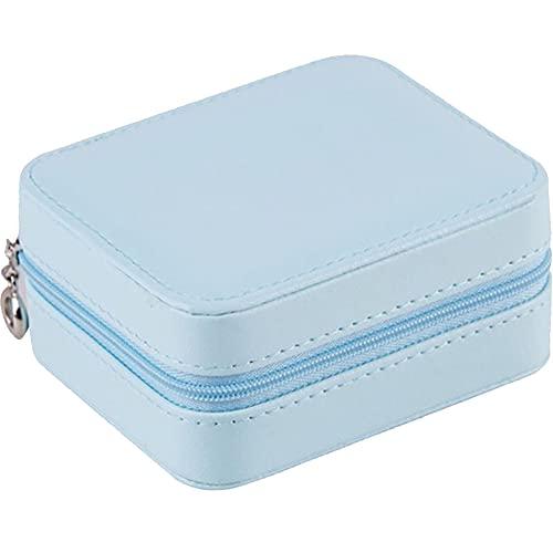 Organizador de viaje de joyería, joyero de viaje pequeño con caja de material de piel sintética, color azul