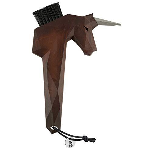 Goodsmith Einhorn Hufkratzer BRAUN | Hufauskratzer in einzigartigem Einhorn Design | Ideal zum Säubern von Pferde Hufen | Austauschbare Bürste | Spitze aus hochwertigem Edelstahl