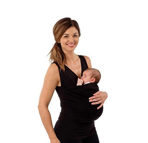 KURAZL Kangaroo Mommy T-Shirt Babytrage Schwangerschaftskleidung Multifunktions Mutter Kurzarm Wickeltank für Große Taschenoberteile Nylon Baumwolle,Schwarz,S