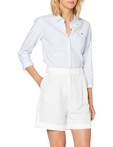Tommy Hilfiger Linen Tencel Short Vaqueros Slim, Blanco (White Ybr), 90 (Talla del Fabricante: 34) para Mujer