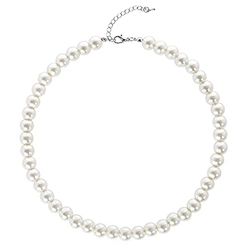 WJLGKSZG Cadenas de Perlas de Las señoras Cadenas Redondas de Perlas de la Perla de la imitación de la Boda del Collar de la Boda para Las Novias Blancas,14mm