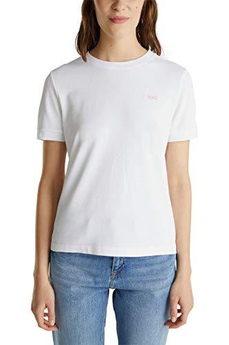 edc by ESPRIT Damen 040CC1K309 T-Shirt, 100/WHITE, XS