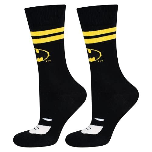 soxo lustige Herren Batman Socken | Größe 40-45 | DC Comics Herrensocken aus Baumwolle | Besondere, mehrfarbig gemusterte Lange Socken für Männer