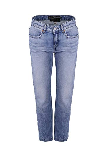 Drykorn Straight Jeans Pass High Waist Used 5 Pocket Middelblauw