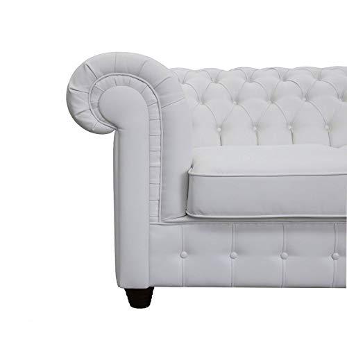 JVmoebel Chesterfield 3 + 1 - Sofá cama de piel