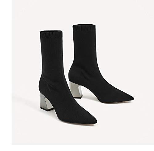 Shukun enkellaarsjes herfst en winter stretch doek sokken laarzen korte laarzen hoge hak laarzen dikke met puntige dames schoenen