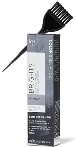 ION Color Brilliance BRIGHTS Semi-Permanent Creme Hair Color Dye, Size: 2.05 oz (w/Sleek Tint Brush) Cream Haircolor (TITANIUM)