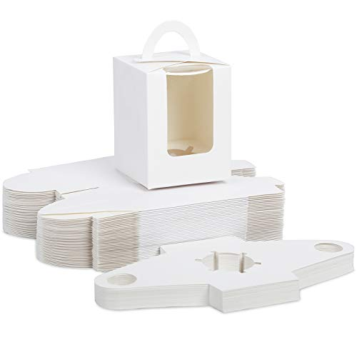 Moretoes 60pcs White Single Cupcake Carriers Bulk White Individual Cupcake Containers Holders Boxes with Window and Inserts for Bakery Wrapping Packaging