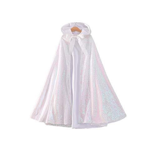 Proumhang Mädchen Bling Cape Hooded Cape Kostüm Cosplay Pailletten Prinzessin Outfit für Halloween Karneval Weihnachtsfeier Themenabend-Weiß,M