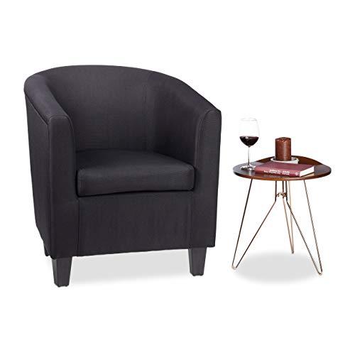 Relaxdays, schwarz Sessel, bequemes Sitzpolster, charmantes Retro-Design, Stoffbezug, zum Relaxen, HBT: 77x70x74cm, Standard