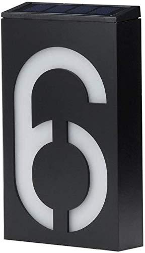 ENLAZY Solar - Hausnummer digitales Licht LED - Adressnummern Plaketten Hausnummernschild Wandschild Solarbetriebenes Nummernschild, 6