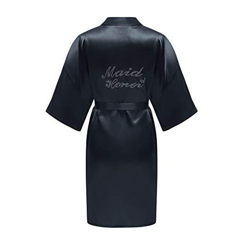 ALHAVONE Damen-Kimono, Einheitsgröße, Strass, für Braut, Brautjungfer, seidig, kurz, einfarbig, für die Hochzeit - Blau - Einheitsgröße
