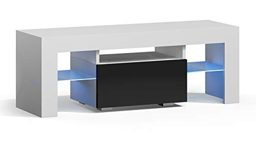 RODRIGO TV Lowboard 110 cm Fernsehschrank TV-Schrank Hochglanz inkl. LED Farbwechsel Beleuchtung (110 x 45 x 35 cm, Weiß Matt/Schwarz Hochglanz)