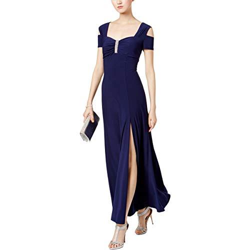 R&M Richards Womens Embellished Sweetheart Neck Evening Dress Navy 14