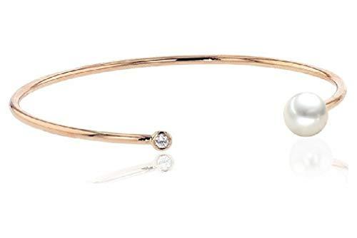 Luna-Pearls Perlenarmreif Akoyaperle 7,5-8 mm 750/- Rosegold 1 Brillant 0,06 ct. 3001205