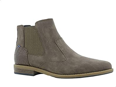Sprox Faux Leather Embossed Heel Tab Side Zip Elastic Panel Ankle Boots For Men 42