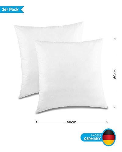 Kuscheli® 2er Pack Kissen Couchkissen Federkissen Dekokissen Sofakissen in Weiß gefüttert mit Federn , Größe: 60x60 cm