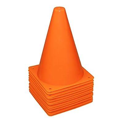 REEHUT 7.5 Inch Plastic Sport Training Traffic Cone (Set of 12, Orange)