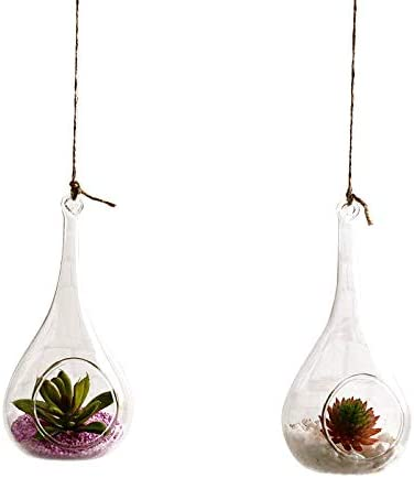 Bargain Beauto Pack of 2 Year-end annual account Indoor Outdoor Han Candle Glass Holders Hanging