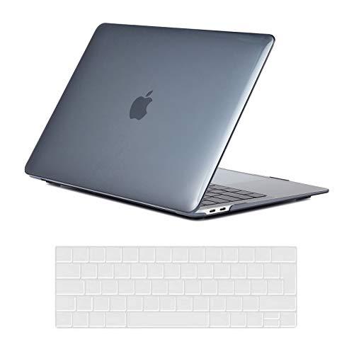 KEROM Carcasa rígida ultrafina de plástico para MacBook Pro 13 2015 2014 2013 2012 (A1502/A1425), con protector de teclado para MacBook Pro Retina 13, color negro