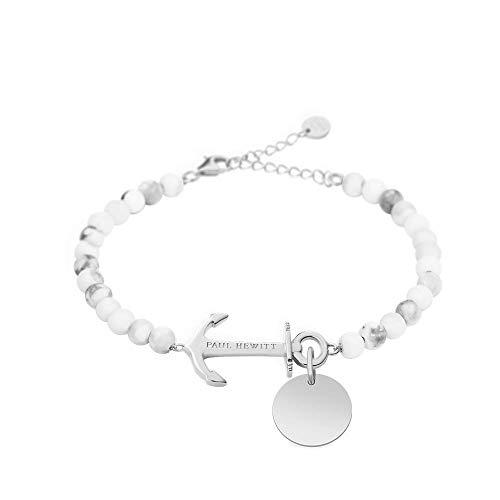 PAUL HEWITT Perlenarmband Damen Anchor Spirit - Armkette mit Gravur Damen (Marmor) Schmuck und Gravuranhänger aus Edelstahl (Silber)