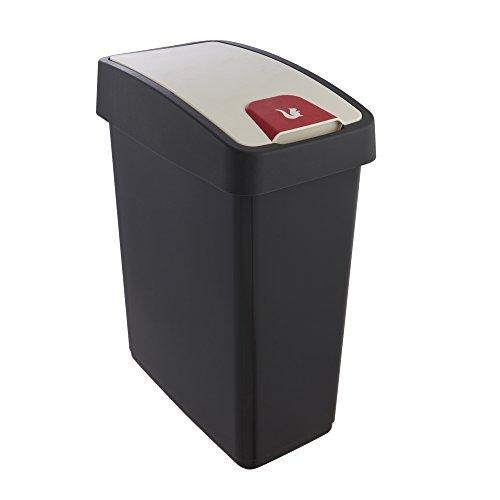 keeeper Premium Abfallbehälter mit Flip-Deckel, Soft Touch, 25 l, Magne, Graphit Grau