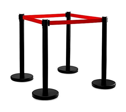 Stagecaptain PLS-200B Absperrständer Personenleitsystem 2 Paar (4 Stück Absperrpfosten, Hotel, Ausstellung, Flughafen, Vip, roter Teppich, Absperrband rot) schwarz