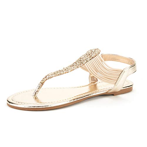 DREAM PAIRS Spparkly Women's Elastic Strappy String Thong Ankle Strap Summer Gladiator Sandals Gold Size 7.5