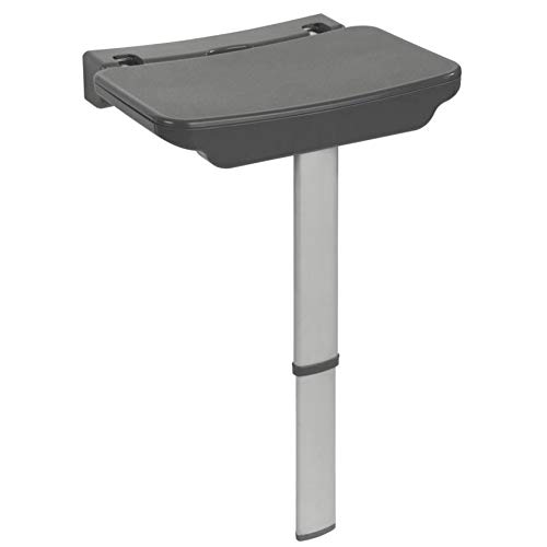 WENKO Duschklappsitz Secura Premium - Duschsitz zum Klappen, 120 kg Tragkraft, Polypropylen, 37 x 37.5-56.5 x 30.5 cm, Anthrazit