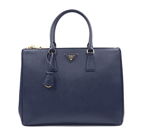 Prada 1BA786 NZV F0216 Large Saffiano Lux Women's Tote Bag Baltico Navy Blue