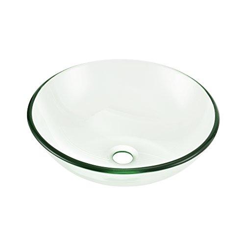 [neu.haus] Lavabo Lujoso en Forma Ronda - (42x42cm) - Lavabos sobre encimera - cristal de seguridad - transparente