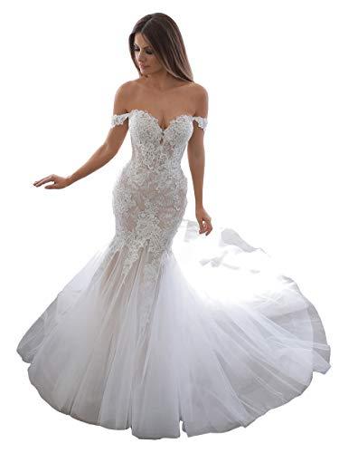Trumpet Wedding Dresses Off Shoulder Net Lace Appliques Sweetheart Cute Long Destnation Bridal Gowns Ivory 24w