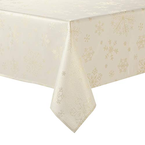 HARORBAY Christmas Tablecloth 60 x 120 Inch, Rectangle Snowflake Table Cloth for Thanksgiving Fall Holiday, Cream Gold Farmhouse Table Cover (Crystal Serie)