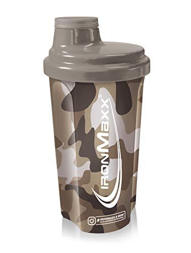 IronMaxx Eiweiß Shaker mit Drehverschluss, Sieb und Mess-Skala Fitness Shaker für klumpenfreie Shakes - Leicht zu reinigen - Protein Shaker in Camouflage Sand, 700 ml