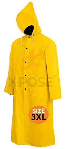 Xpose Safety Heavy Duty Yellow Rain Coat – .35mm PVC 48in Raincoat Jacket with Detachable Hood - Waterproof Slicker - Storm Weather, Raining, Fishing, Wet Work Conditions - 4XL