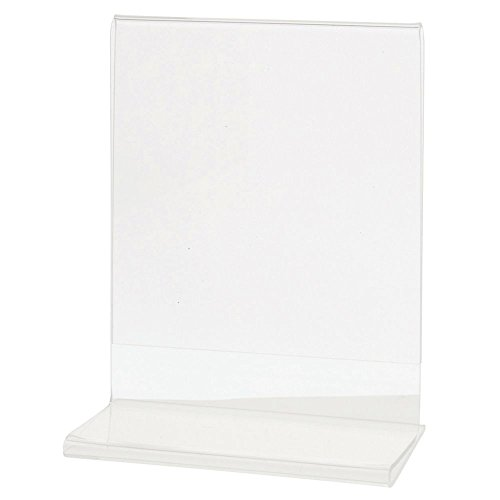 Sign Holder with T Base Clear Vertical Ad Holder Photo Frame - 4 1/2 L x 2 1/2 W x 5 1/2 H