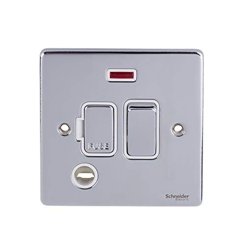 Schneider Electric GU5514WPC Ultimate Low Profile Plate, abgesicherte Verbindung, Neon, Chrom