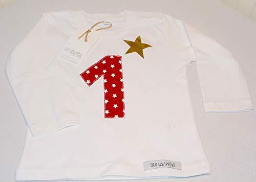 Der Wollprinz Geburtstag T-Shirt für Kinder mit Zahl, Kindershirt mit Zahl 1 T-Shirt mit Zahl 1 in weiss mit der Zahl 1 in rot langärmlig