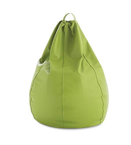 Puff Pera moldeable XXL - 90x90x135 cm - Color Pistacho. Tejido Polipiel Alta Resistencia - Doble repunte - (Incluye Relleno Bolas Poliestireno) - 320 litros Capacidad.