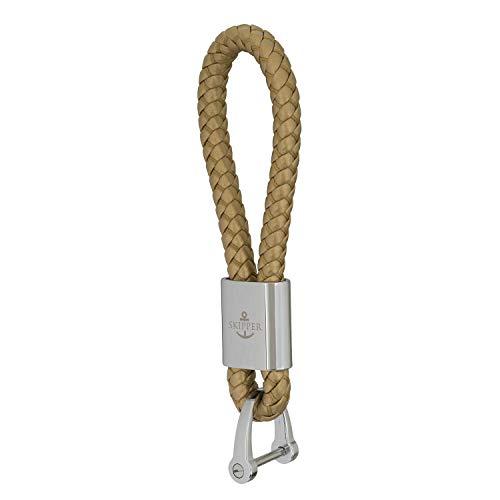 Skipper Schlüsselanhänger aus Kunst-Leder und Edelstahl - Gold 7287