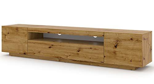 Mueble bajo para TV Aura, 200 cm, para colgar o de pie, universal, mueble para televisión, aparador, mesa para colgar (roble Artisan, sin LED)