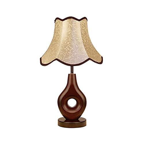 SHYPT Lámpara de Mesa Moderna Nueva China lámpara de Madera Dormitorio lámpara de Noche Retro Tela Sala de Estar habitación de Mesa lámpara de mesita de Noche lámpara