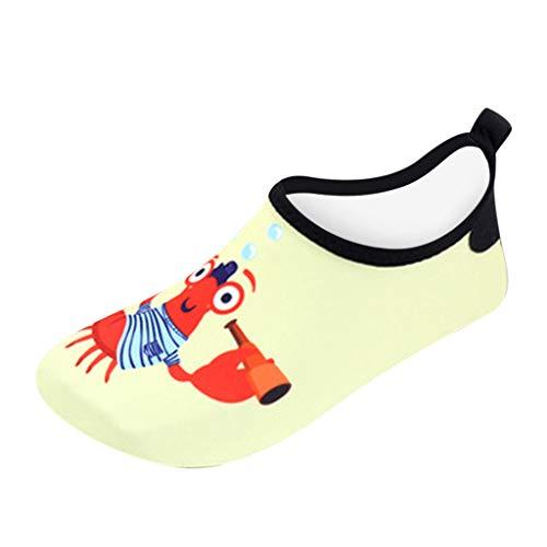 HDUFGJ Kinder Barfußschuhe Badeschuhe Wasserschuhe Aquaschuhe Trocknend Schwimmschuhe Strandschuhe Surfschuhe für Jungen Mädchen Baby Outdoor Strandschuhe Atmungsaktiv Gummi Sommer24(Gelb)