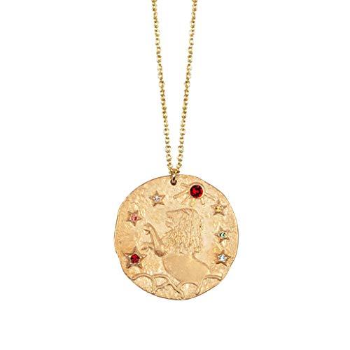 Yowablo Halskette Damenmode Retro Gold Runde Anhänger Zwölf Sternbild Relief (D)